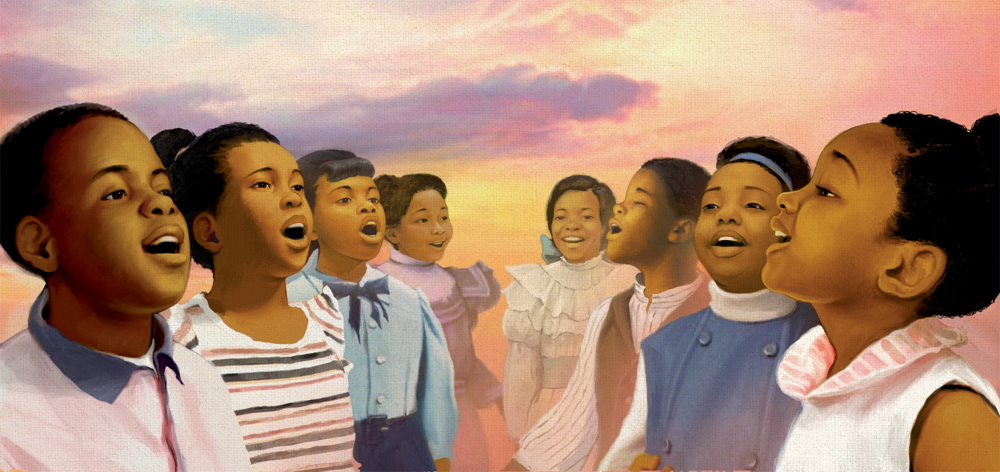 A group of children sing together